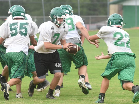 Yellville-Summit quarterback Eli Cagle hands off during a recent practice.