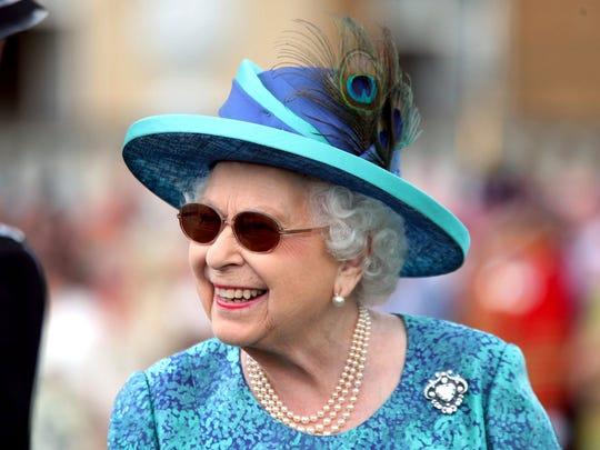 Queen Elizabeth II at a garden party at Buckingham