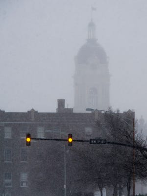 The Old Courthouse could still be seen although visibility was low due to weather during January's big snow storm.