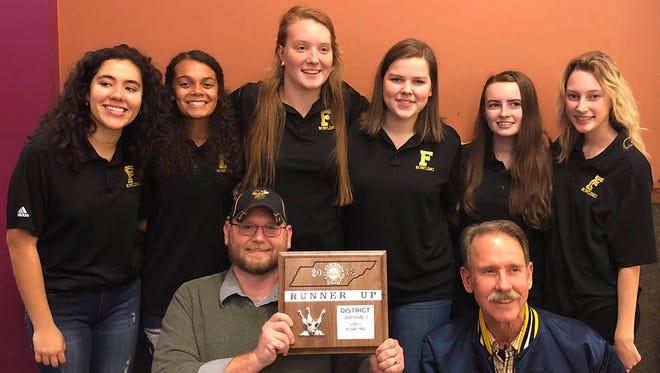 The 2017 Fairview High School Girls Bowling Team (l-r) Alex Brown, Donavan Brown, RuthAnn Sewell, Maggie McGowan, Sara Shelby, Araya Smith; Front row - Coach Chris Smith and Coach Ray Smith.