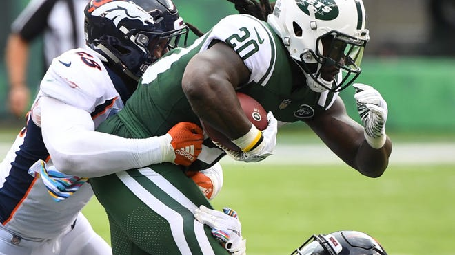 New York Jets running back Isaiah Crowell (20). Credit: Robert Deutsch-USA TODAY Sports