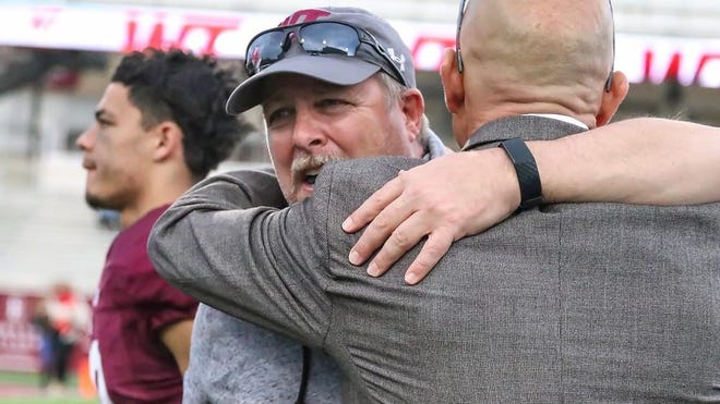 A post-game embrace like in 2019 between West Texas A&M head football coach Hunter Hughes and athletics director Michael McBroom will have to wait until at least late September after the Lone Star Conference voted to delay the fall seasons a month.