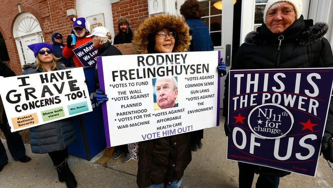 NJ 11th For Change weekly Friday gathering at Rodney Frelinghuysen's Morristown office. Today's protest comes after the Congressman announced that he would not seek re-election at the end of his 12th term in the House of Representatives. February 2, 2018. Morristown, NJ.