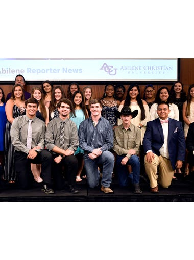 High school Star Students gather for a group picture at the end of the Star Student Awards banquet Tuesday June 19, 2018 at Abilene Christian University.