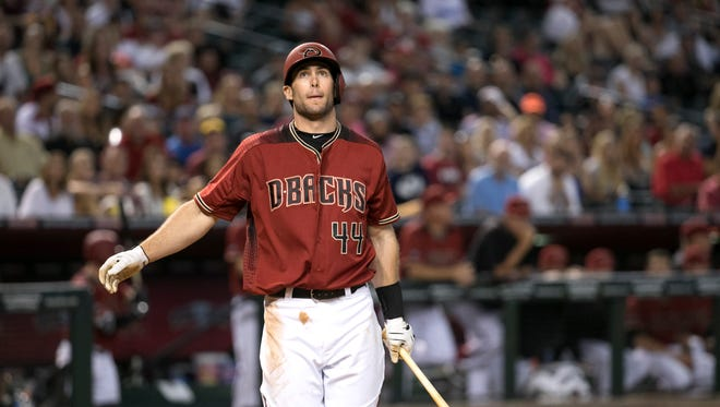 Diamondbacks first baseman Paul Goldschmidt watches a foul ball go into the stands during the eighth inning of the MLB game against the Dodgers at Chase Field in Phoenix on Wednesday, June 15, 2016.