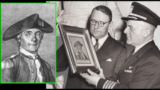 Stanley Arthur, curator of the Louisiana State Museum, and naval officer Capt. Philip Seymour examine a rare portrait of John Paul Jones in 1942. The illustration by French engraver Jean Moreau is believed to have been drawn from life in May 1780 when Jones and Moreau were both in Paris. Jones would return to Portsmouth the following year to captain the warship America.