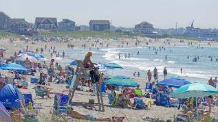 East Matunuck State Beach last Saturday. The fine for parking will be $150 along the entire length of Succotash Road, which is the only way to reach the beach.