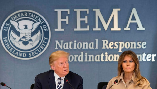 President Trump  and first lady Melania Trump at the Federal Emergency Management Agency for a hurricane briefing on June 6, 2018.