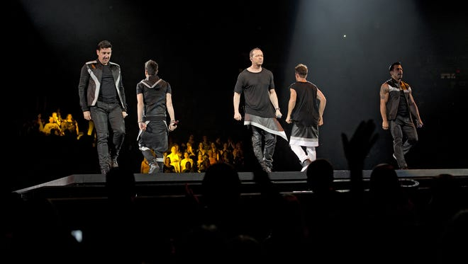 New Kids on the Block during a past performance at U.S. Bank Arena.
