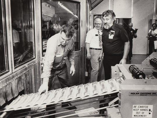 Joe Johnson, left, Bill Hogan and Doug Vogel at Phoenix Newspapers Inc.'s Mesa Plant on June 24, 1982.