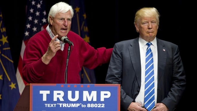 Former Indiana basketball coach Bob Knight talks about Republican presidential candidate Donald Trump during a campaign stop at Old National Events Plaza, Thursday, in Evansville.
