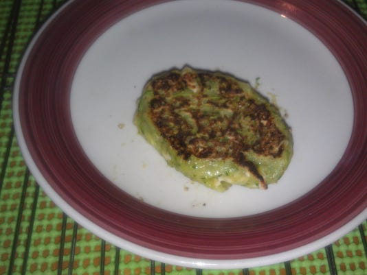Very green zucchini pancake! Photo by Bethany Fehlinger