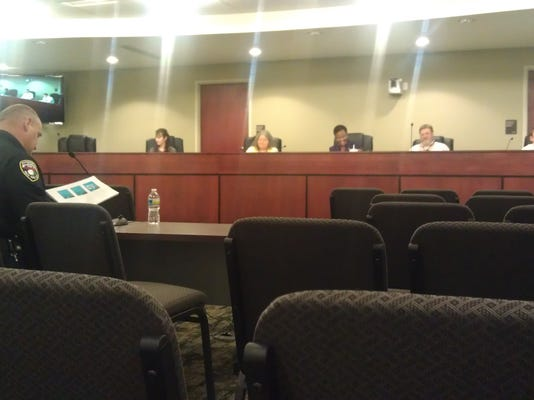 Here is York's police chief, speaking on day four of this week's budget hearings. The crowd shown was about the usual.