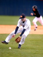 Blackman's Justin Etling (6) fields the ball after pitching during the game against Shawnee on Friday, March 31, 2017.