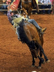 Tolman Moore of Las Cruces, New Mexico, competes in the bareback riding event of the Wichita Falls PRCA Rodeo in 2016. The rodeo returns April 21-22 to the J.S. Bridwell Agricultural Center.