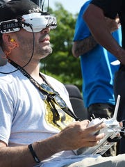 "Pilot ""Telish"" of Team Florotors from New York at the controls as Teams from the International Drone Racing Association held their event at Dover International Speedway on Sunday June 4th before the start of the 48th Annual AAA 400 Drive for Autism Race held at the speedway."