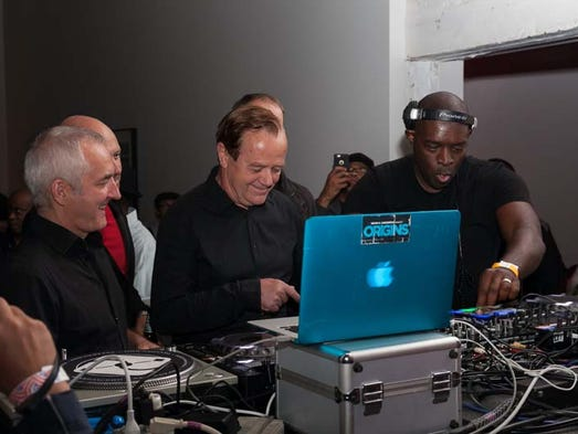 Kevin Saunderson, right, performs with the German electronic