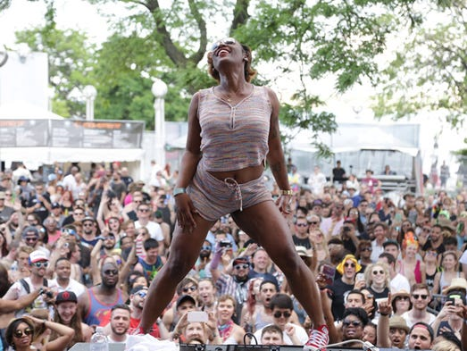 Dancers for artist Big Freedia perform for the crowd