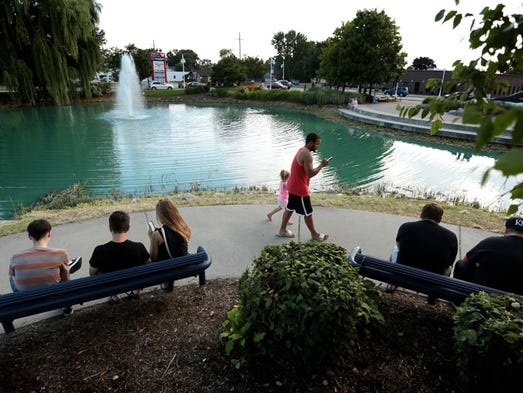 Pokemon Go players gather at Wahby Park to catch pokemons
