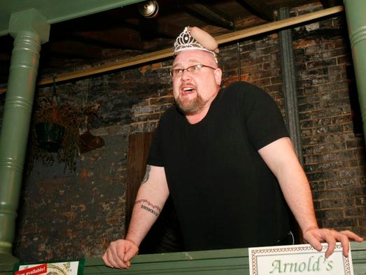 2008: Michael Newton performs a short dramatic piece for his part of the talent competition at the Sausage Queen Finals at Arnold's.