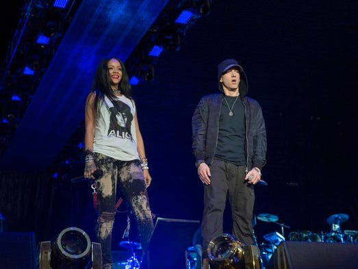Eminem and Rihanna perform on the The Monster Tour at Comerica Park on Friday, Aug. 22, 2014, in Detroit, MI.