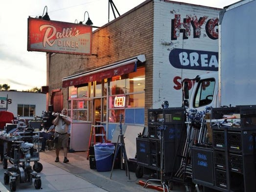"Filming crews on scene at the Hygrade Deli on Michigan Ave. in Detroit on Thursday August 28, 2014 for the movie ""Batman v. Superman: Dawn of Justice."""