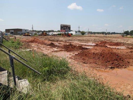 Construction continues at Wossman High School's football field on Tuesday.