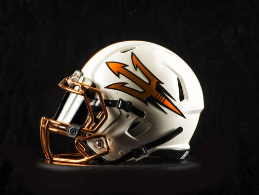 ASU unveiled the team's 10th distinctive helmet design in three seasons on Aug. 18, with this new design including a copper chrome facemask and decals, as well as a copper chrome stripe down the middle.
