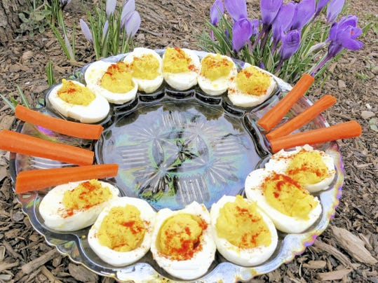 The hardest part of making deviled eggs is peeling the shells. Try allowing the hardboiled eggs to sit in cold water for 30 minutes before peeling them, and you should have an easier time of it.