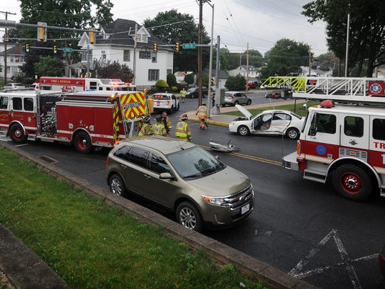 A driver had to be freed after becoming entrapped Thursday,