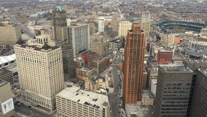 The view looking northward from the 50-story observation deck of the Penobscot Building in downtown Detroit.