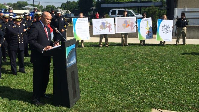 Cincinnati City Manager Harry Black speaks at a press conference detailing the city's violence reduction and summer safety plan at Olden Park in East Price Hill Wednesday.