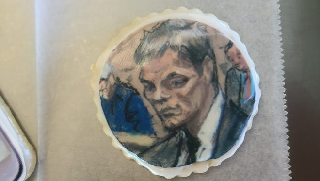 Taylor's Bakery has created cookies in honor of Colts-Patriots, including this one of the Tom Brady court sketch.