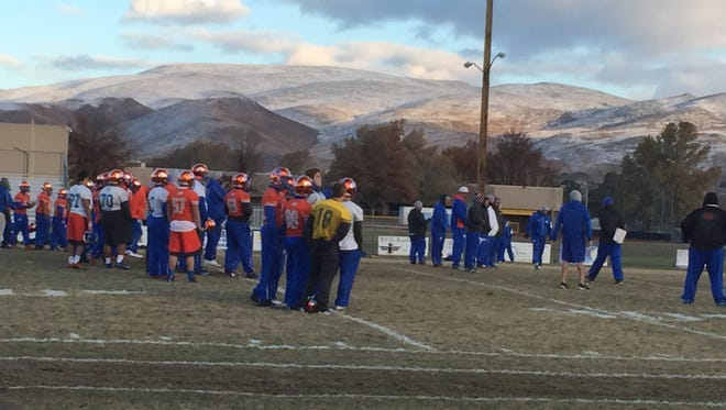 The Bishop Gorman football teams practices at Reed on Friday.