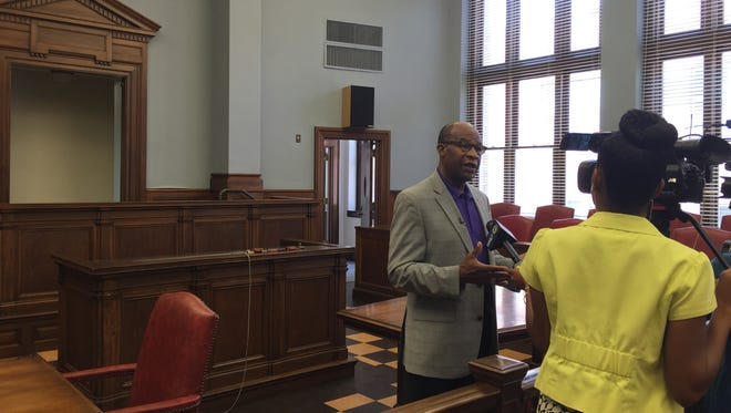 Hattiesburg Mayor Johnny DuPree talks to the media about the newly renovated courthouse that will be used as the municipal court while the city builds its new public safety complex.