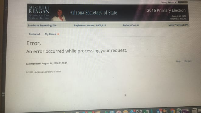 """The Secretary of State's Office, which oversees statewide elections, was supposed to be issuing the early results of races across the state close to 8 p.m. Tuesday. Instead, the website produced this message: """"Error."""""""