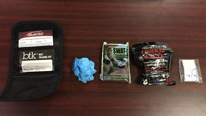 Officers and deputies with local law enforcement agencies will receive trauma kits, which include gloves, gauze for packing wounds, rubber to use as a tourniquet or to put pressure on a wound and a face mask for CPR.