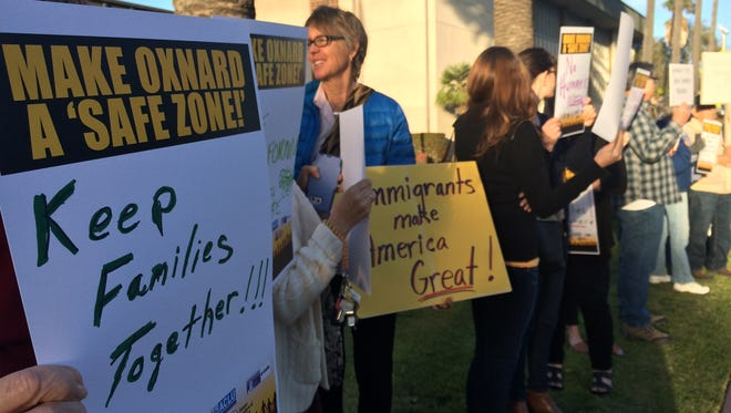 Hundreds gathered outside Oxnard City Hall on Tuesday calling for the council to pass a safe city resolution.