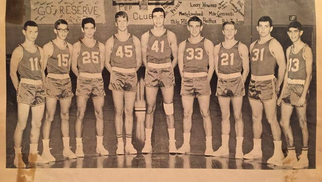 """The 1964-1965 Deer Park varsity basketball yearbook team photo. Bill Cunningham is far left. Don Prince is fourth from left. Mike """"Rocky"""" Allen is No. 41 at Center. Bob Teubner is No. 21, next to Jim Prather (No. 31). In those days, many players wore even numbers at home and the next odd number on the road."""