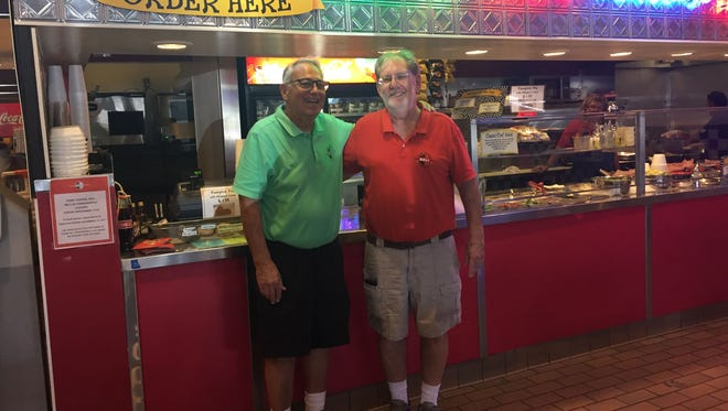 Park Central Deli operated at Park Central Mall in Phoenix since 1957. Pictured are owners Jim Bickoff (left) and Charlie Sands (right).