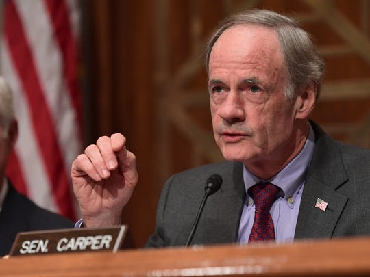 Sen. Tom Carper, D-Del., speaks on Capitol Hill in Washington on Tuesday, Oct. 31, 2017, during a hearing on the federal response to the 2017 hurricane season.