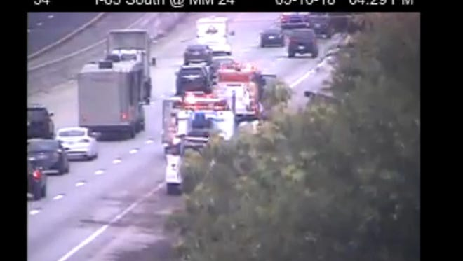 An SCDOT camera shows emergency responders along the right side of I-85 at mile marker 24 in Anderson County Wednesday just before 4:30 p.m. There were four accidents reported in the area, according to South Carolina Highway Patrol.