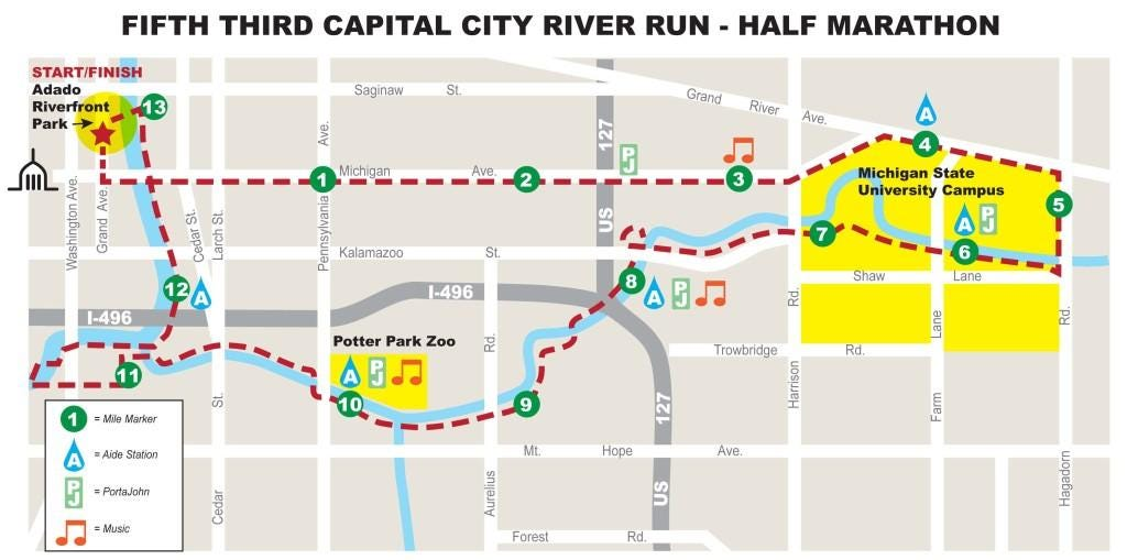 Course map road closures for Capital City River Run