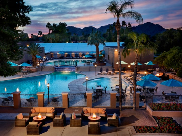The pool at The Scottsdale Plaza Resort, which offers