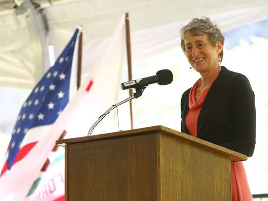 Interior Secretary Sally Jewell discusses the California desert's three new national monuments at the Whitewater Preserve on May 5, 2016.