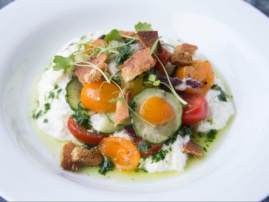 Reyla's fattoush salad is made with cherry tomatoes,