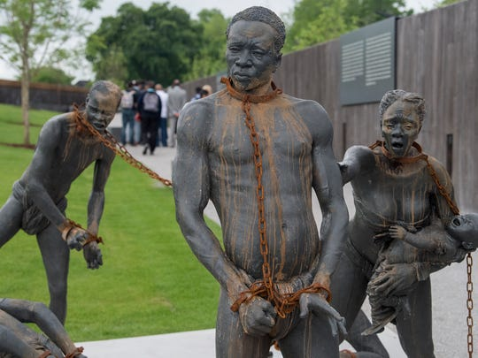 The slavery statue at the National Memorial for Peace and Justice in Montgomery, Ala. on Monday April 23, 2018.