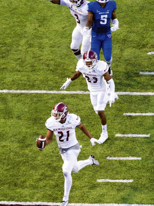 Gary Mook/For the Sun-News   New Mexico State defensive back Jaden Wright was named the Sun Belt Conference defensive player of the week this week. The Aggies defense faces rival UTEP on Saturday.
