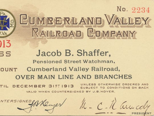Railroad pass signed by M.C.Kennedy, president in 1913. He was a son of T.B. Kennedy.