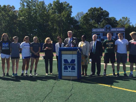 U.S. Rep. Frank Pallone Jr., D-N.J., 6th District, reintroduced the Cardiomyopathy Health Education, Awareness, Risk Assessment and Training in the Schools (HEARTS) Act at Metuchen High School on Monday.